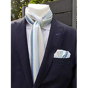 Exklusiver Herren Einstecktuch mit passendem Schal in Hellblau-Beige-Weiß gestreift, Baumwolle