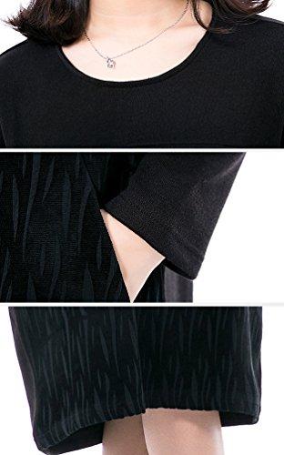 NiSeng Donna Casual Collo Rotondo Maniche Lunghe Vestito Autunno E Inverno Vestito Eleganti Loose Lunghe Vestito Nero 1 #