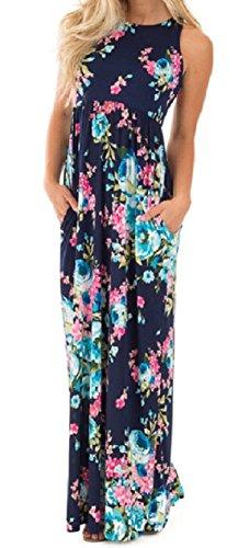 Walant Damen Ärmellos Drucken Maxi Kleid Lang Sommerkleid Strandkleid Blau m (Maxi-kleid Druck Baumwolle)