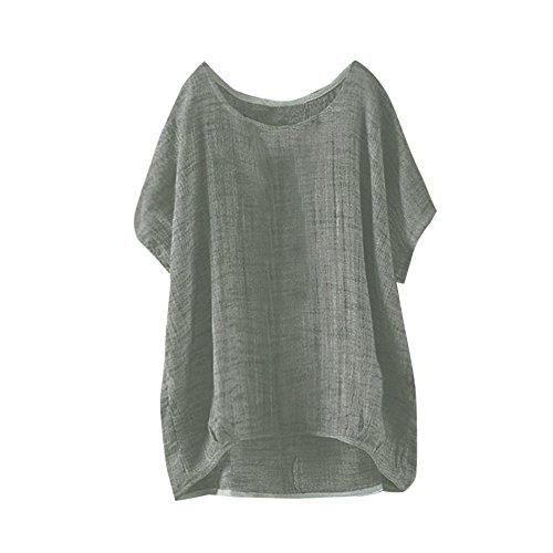 YEBIRAL Mujeres Casual Tallas Grandes Camiseta Camisa Manga Corta Suelto Casual Redondo Cuello Color...
