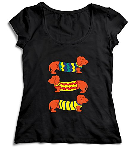 Three Animated Dachshunds Funny Dogs Three Dogs With Cute Costum Damen T-Shirt Black Men's Shirt Baumwolle Cotton Damen MD Women Black T-Shirt