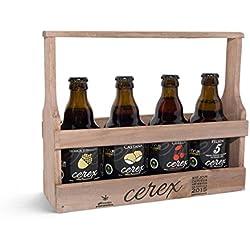 Pack Degustación de 4 Cervezas Artesanas Españolas con caja regalo de presentación en madera – Cervezas de Cereza, Castaña, Ibérica de Bellota y Pilsen