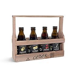 Idea Regalo - CEREX - Degustazione di 4 birre artigianali spagnole con confezione regalo in legno - ciliegia, castagna, bellota iberico e birre Pilsen
