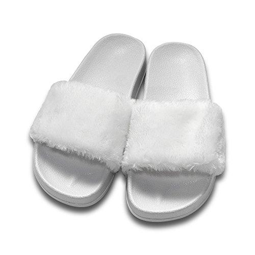 MStar Damen Hübsche Plüsche Hausschuhe Eva Rutschfeste Pantoffeln Outdoor/Indoor in 5 Farben Weiß