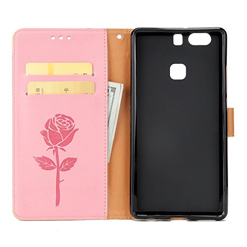 Dual Color Matching Premium PU Leder Flip Stand Case Cover mit Card Cash Slots und Lanyard für Huawei P9 ( Color : Red ) Pink