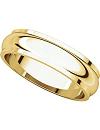 14ct Yellow Gold, Edged Half Round Wedding Band 5MM (sz H to Z5)