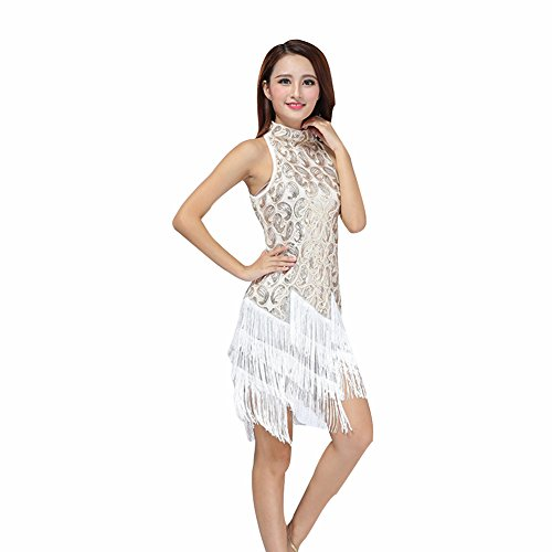 Reefa Damen Pailletten Latin Dance Kleid Ballsaal Salsa Tango Dance Kostüm - Latino Kostüm