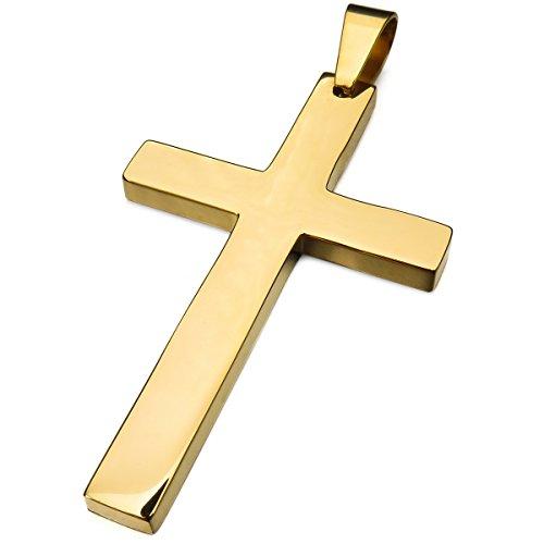 MunkiMix Edelstahl Anhänger Golden Ton Kruzifix Kreuz Halskette Herren,Damen,mit 58cm Kette