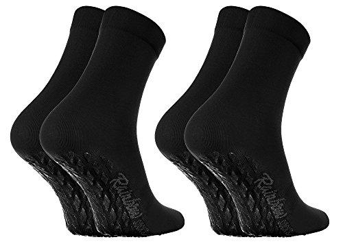 Rainbow Socks - Damen Herren Bunte Baumwolle Antirutsch Socken ABS - 2 Paar - Schwarz - Größen EU 42-43 (Dünn Komfort)