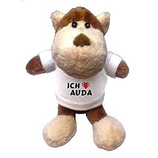 Plüsch Affe Schlüsselhalter mit T-shirt mit Aufschrift Ich liebe Auda (Vorname/Zuname/Spitzname)