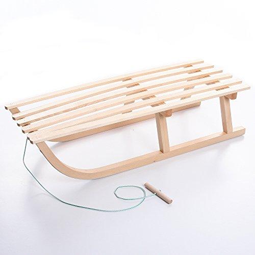 Holzschlitten Schlitten Kinderschlitten Rodel aus Holz mit Zugseil