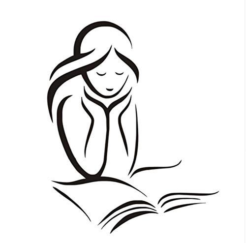 ädchen Liest Ein Buch Wandtattoos Vinyl Removable Home Decor Wandaufkleber Mädchen Zimmer Wand Dekorative Aufkleber ()