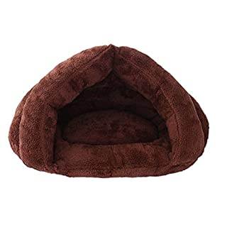 Proglam Haustierbett für Herbst und Winter, aus Plüsch, warme Schlafzone, Kuschelhöhle, für kleine Hunde und Welpen Coffee