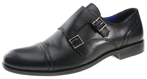 Hommes Red Tape Grange Cuir Noir double moine lanière boucle chaussures mariage Noir