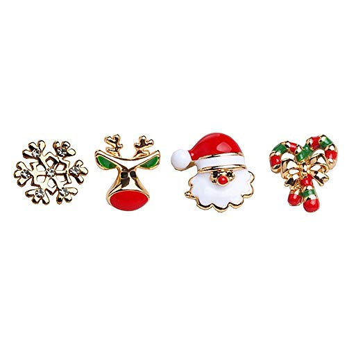 Gioielli di Moda Orecchini di Alta qualità 2 Paia 4pcs Orecchini Carino Gioielli di Vacanza di Natale per Le Donne Ragazze Bambini Ragazzi Babbo Natale Cervi Albero di Natale Regali di Fiocco di Neve