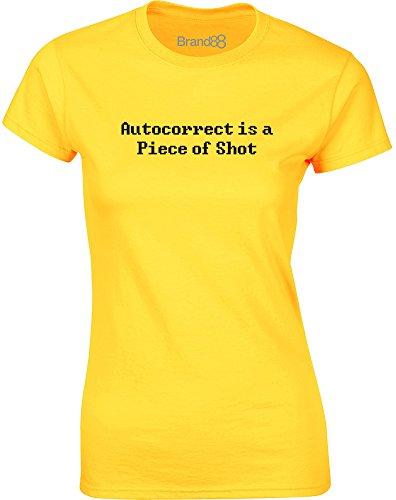 Brand88 - Autocorrect is a Piece of Shot, Gedruckt Frauen T-Shirt Gänseblümchen-Gelb/Schwarz