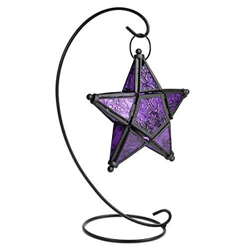 lter fünfzackigen Stern Light Halter Kerze Laterne Party Supplies Bar Weihnachten Decor, marokkanischen Stil Colorful Glas Star Light Lila ()