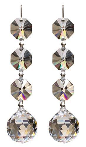 2x Kristall Kugel 20mm + Octagonkette mit SPECTRA® CRYSTAL - Feng Shui - Regenbogenkristall - Sonnenkristall