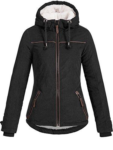 DESIRES Damen Basse warme Winterjacke Kapuze Kordeln Teddyfell gefüttert Übergangsjacke Regenjacke Winter Jacke 9000 BLACK XL