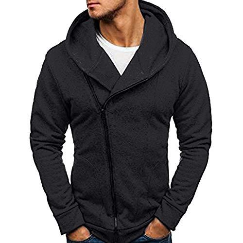 Yvelands Herren Sweatshirt Langarm Herbst Winter Casual Sweatshirt Hoodies Coat Trainingsanzüge(EU-46/M,Schwarz)