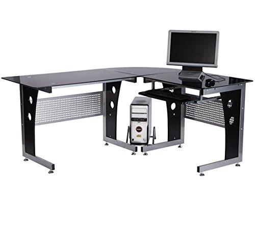 Homcom Bureau d'informatique angle pour ordinateur meuble table de travail plateaux verre fumé trempé