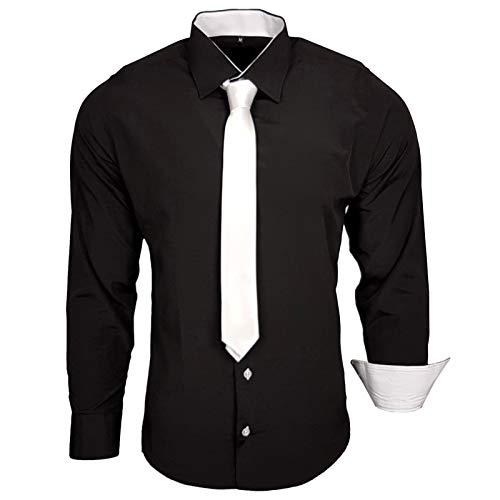 Krawatte, Weißes Hemd (Rusty Neal 44-KR Herren Kontrast Hemd Business Hemden mit Krawatte Hochzeit Freizeit Fit, Größe:L, Farbe:Schwarz-Weiß)