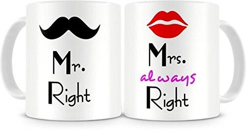 D&Y Mr. & Mrs. Right Couples Ceramic Printed Coffee Mug
