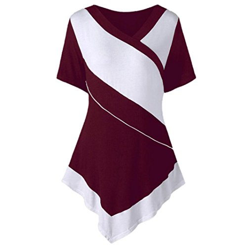 TUDUZ Schöne Obertei Damen V-Ausschnitt Kurzarm Zwei Tone Asymmetrische Patchwork T-Shirt Tops -