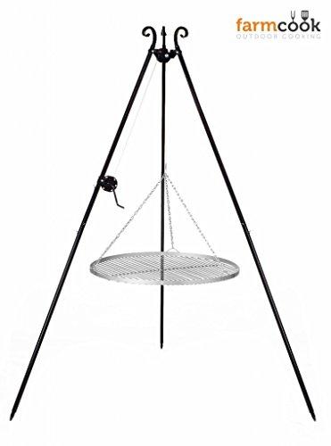 Dreibeingrill Höhe 192cm mit Kurbel und Edelstahlrost Durchmesser 60cm