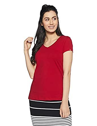 Jockey Women's Cotton V-Neck Tee (1359_Jester Red_Small)