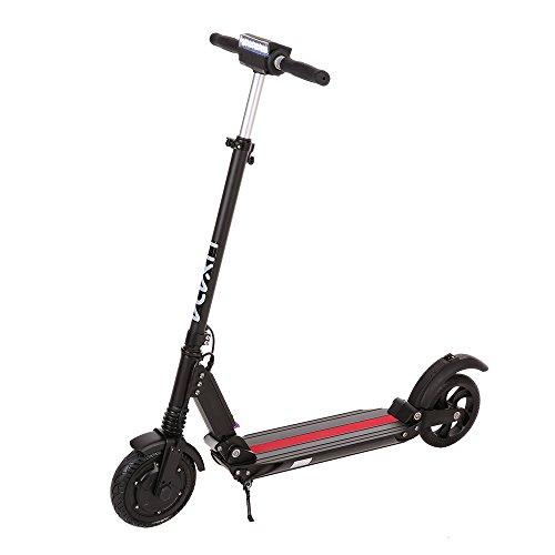 Lixada Faltbarer Leichtgewicht Erwachsenen Elektroroller mit Lithium Ionen Akku, LCD Anzeige, Fahrradlampe, schwarz