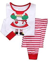 2 Stück Pyjama Weihnachten,Mädchen Zweiteiliger Schlafanzug Baumwolle Langarm Tops + Hose Nachtwäsche Kinder Pyjama,Unisex Kinder Jungen Mädchen Schlafanzug