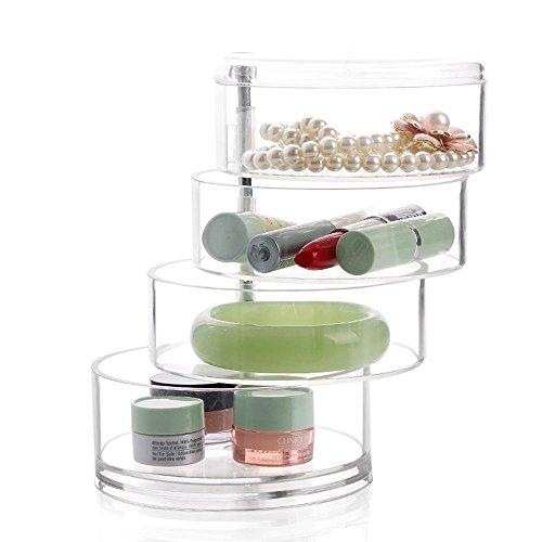 TuTu Acrylique Transparent 4 Layer Rotatable Cylinder Shaped Cosmetics Storage Box Organiseur Cosmétique (avec couvercle) -17.5 * 11.5cm