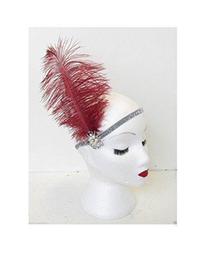 Argent Rouge foncé en plumes d'autruche Flapper perle bandeau bandeau VTG ANNÉES M64 * * * * * * * * exclusivement vendu par – Beauté * * * * * * * *
