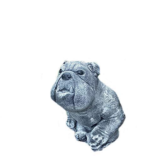 Hund Bulldogge Mops Welpe Tierfigur Steinfigur Garten Steinguss Deko