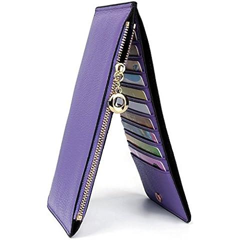 VANCOO,Cuoio genuino delle donne Multi Card raccoglitore dell'organizzatore con Pocket Zipper, litchi (package di alto grado)