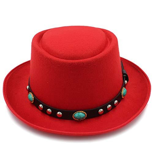 MADONG 8Color Fashion Unisex Classic Filz Pork Pie Porkpie Hat Cap Aufschwung Feodora Hüte Short Brim Black Ribbon (Farbe : Rot, Größe : 56-58CM) Red Hats Classic Hut