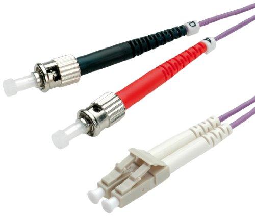 VALUE ST/LC LWL Netzwerkkabel | Glasfaser Kabel | OM4 Duplex Patchkabel in violett | 2 m
