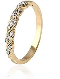 Simple Sweet Rhinestones Wedding Ring Engagement Ring Women Jewelry - Size 7 (Gold)