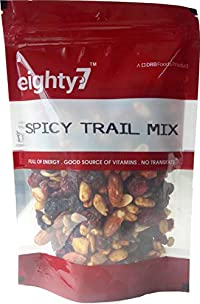 Eighty7 Spicy Trail Mixed Dry Fruits and Nuts, (Almonds, Cranberries, Black Raisins, Peanuts, Pumpkin Seeds, Sunflower Seeds and Apple Candy), 200g