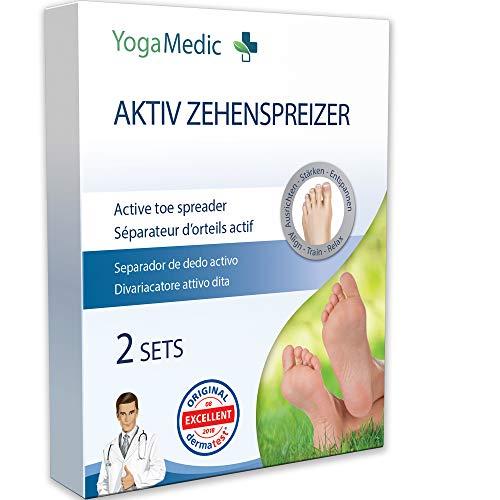 YOGAMEDIC® [4x] Zehenspreizer Hallux Valgus 2 Unterschiedliche Paar - PREMIUM-Set - Super weich, komfortabel und hohe Lebensdauer - Mit Zufriedenheitsversprechen - BPA Frei