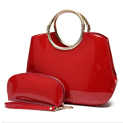 HeHe (2Pcs) Damen Handtasche Marken PU-Leder Handtaschen Elegant Taschen Shopper Reissverschluss Frauen Handtaschen + Geldbeutel - Rot