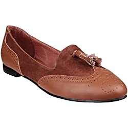 Riva Rimini Leather/Suede Slip On Ladies Shoes Brown - 6