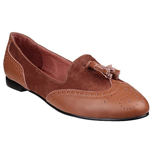 Riva Rimini en cuir et daim glissent sur faible talon chaussures dames brown