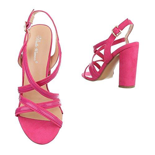 Ital-Design , chaussures compensées femme rose bonbon