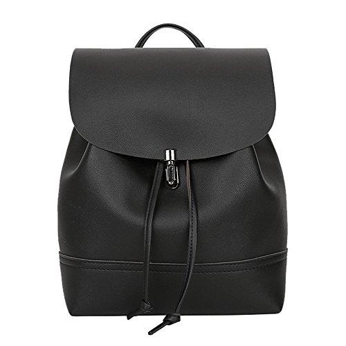 Hiroo borsa zaino da donna casual classic daypack vintage università stile zaino zainetti in pelle zainetti eleganti borsa a tracolla zaini per la scuola borse borse a spalla (nero)