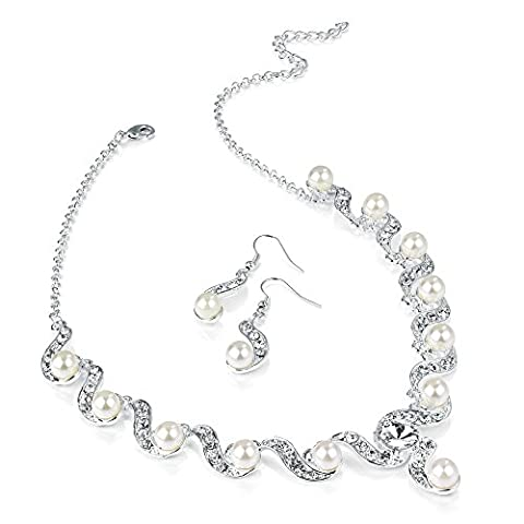 Shiny Silver and Pearl Diamante Necklace and Earring Set Costume