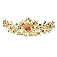 MagiDeal Magnifique Diadème Doré en Alliage Orné de Cristal Strass Rouge et Vert Bandeau de Cheveux pour Mariage Bal Soirée