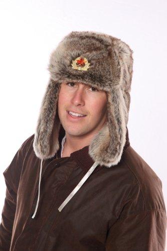 Mens Tracker Trapper Russian Army Fake Fur Ear Flap Cossack Winter