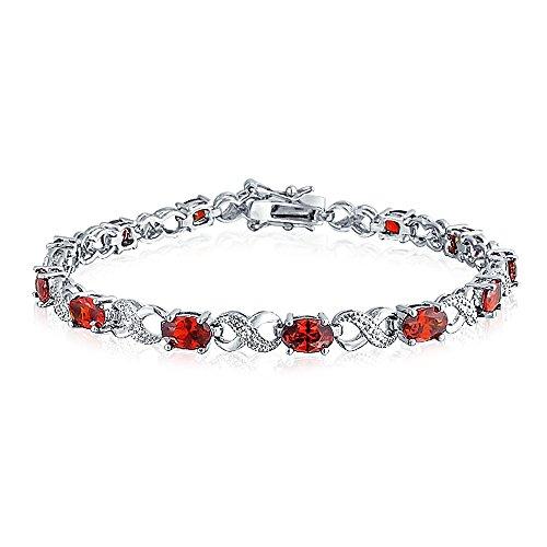 Bling Jewelry CZ Simulated Red Garnet Infinity Tennis Bracelet Rhodium Plated